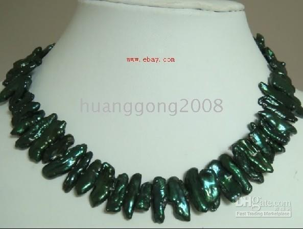 Wholesale New Fine Pearl Jewelry Special mm huge south sea black green pearls necklace inches