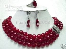 Beautiful red jade necklace earring ring set