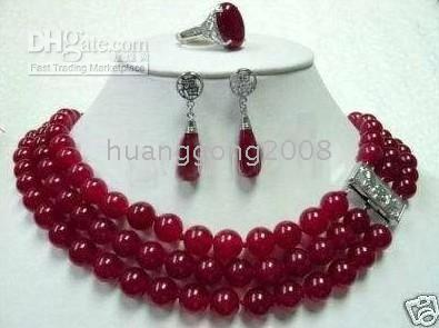 Wholesale Beautiful red jade necklace earring ring set