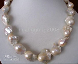 New buy fine pearl jewelry Natural HUGE 20INCHES 22-25MM NATURAL SEA BAROQUE WHITE PEARLS NECKLACE 14k