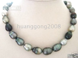 "Tahitian NATURAL COLOR PEARL NECKLACE 18"" 11-13MM huge"
