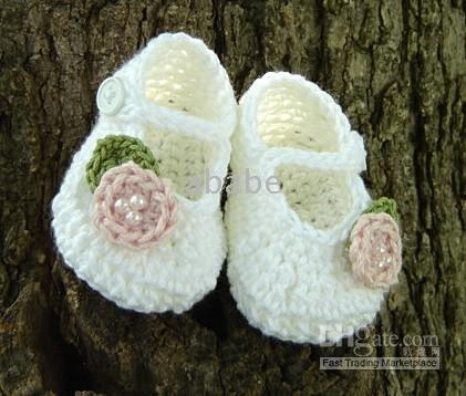 Crochet Shoes baby variety - 1Pair crochet baby girl mary jane slippers infant first walker shoes flower variety design cotton yarn M size