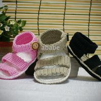 Crochet baby sandals first walker shoes 0- 12M double sole 12...