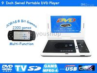Wholesale 9 inch portable dvd player car dvd player with TV bit Games Bit Games