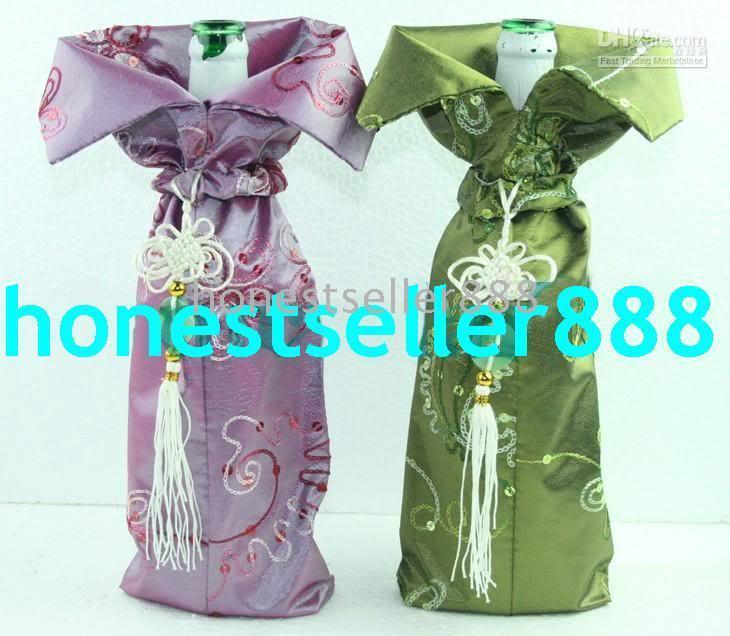 Wholesale 100 CHINA SILK WINE BOTTLE COVERS