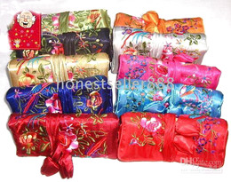 12 Mixed colours EMBROIDERED BROCADE SILK JEWELRY ROLLS Pouches bags