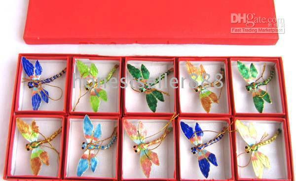 Wholesale 10pc Christmas Gifts Chinese folk Cloisonne dragonfly charm