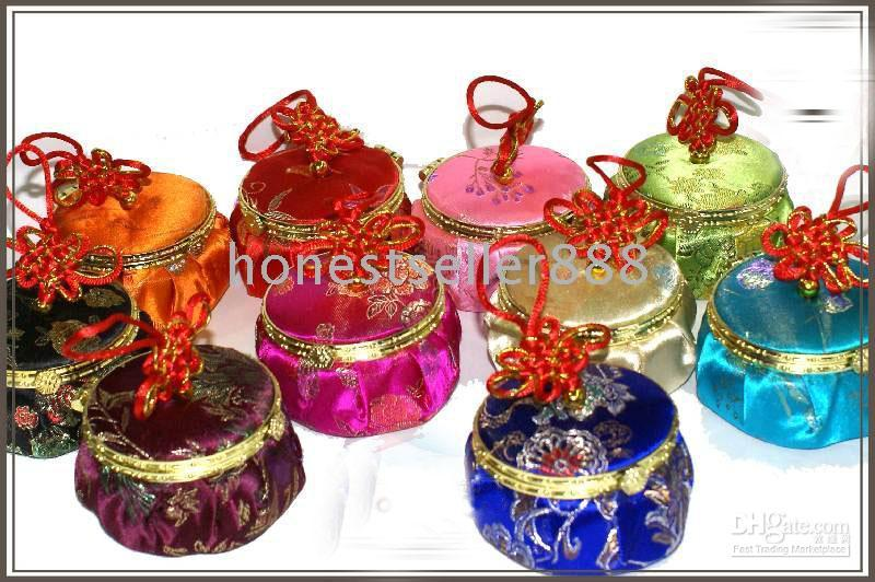 Wholesale 10 HANDMADE PATTERN SILK CHIC JEWELRY BOX Mirror