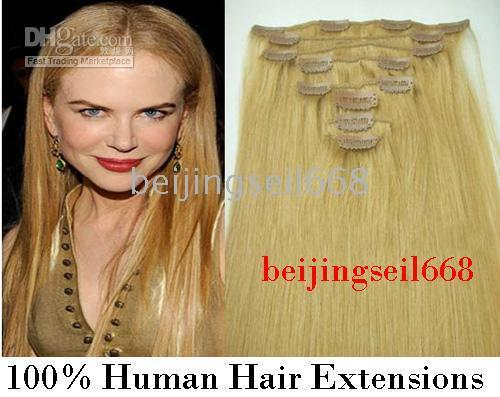 Wholesale 26 quot set clip in hair remy human hair extension clip in hair extension light blond set