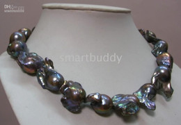 28-30mm tahitian baroque black pearl necklace 18'' 14K