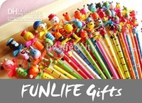 Wholesale funlife Novelty Back to School Cartoon Colorful Kids Animal Wooden Pencil with Springs FL1061
