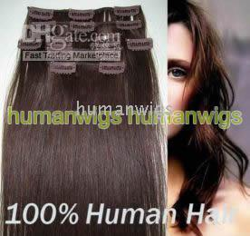 Wholesale 18 quot x32 quot CLIP IN HAIR EXTENSIONS REMY HUMAN HAIR EXTENSION chocolate brown set g sets