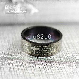 Classic Titanium Steel Rings Bible Cross Pattern Ring Never Fade Color No Allergy Blue NEW 25pcs lot