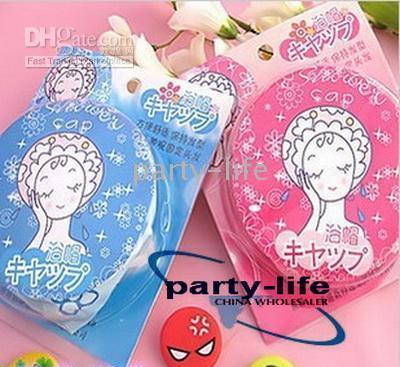 Wholesale Japan Cartoon Cute Shower Cap Bath Hat Pink blue color