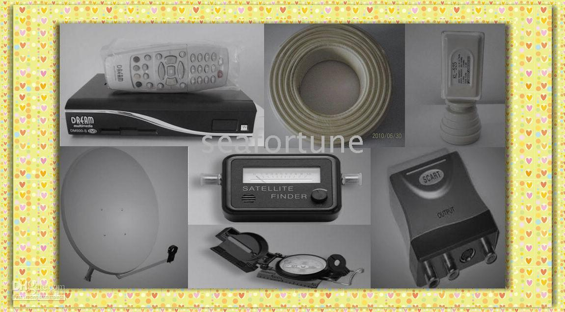 Wholesale Satellite receiver LNB digital video coaxial Cable Offset Antenna Compass Star finder Euro Plug
