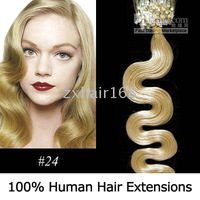 Wholesale 500S quot Body Wave Micro rings loop hair Human Hair Extensions Blonde mix