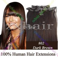 "20"" 7pcs set Clip- in hair remy Human Hair Extensions #0..."