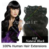 Wholesale 20 quot set Clip in Wave hair Human Hair Extensions B g