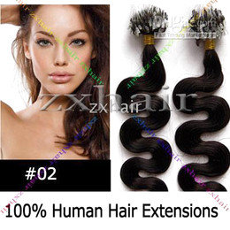 Wholesale 200S quot body wave Micro rings loop hair Human Hair Extensions dark brown g s
