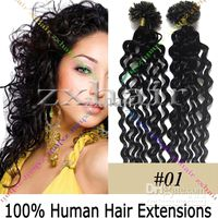 """200S 20"""" curly Nail tip hair Human Hair Extensions jet ..."""