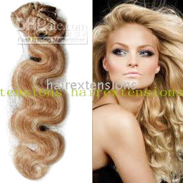 Wholesale 20 quot REMY BODY WAVY HUMAN HAIR CLIP IN EXTENSIONS double color g set