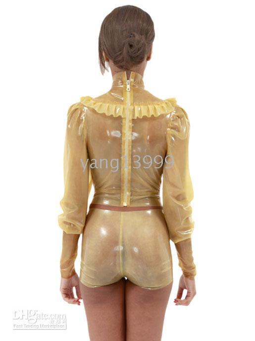 Wholesale Latex clothing latex clothes and shorts translucent sexy