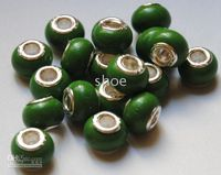 Wholesale 880pcs single core colorful wood beads bead marked silver plated core Mix colors size mm green