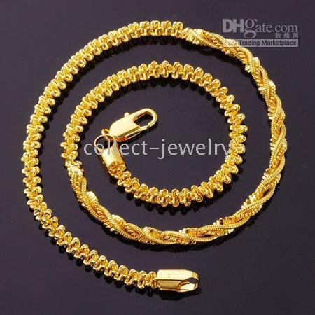 al por mayor collar de hélice-Clásico hélice 24k oro relleno collar de torsión grueso