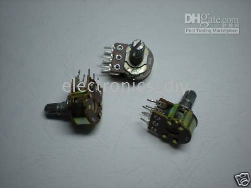 Wholesale 100 per Dual Stereo Potentiometer Pots B50K pins Split Shaft mm w Nuts Washer