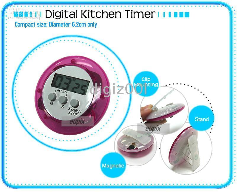 Wholesale Digital LCD Timer Stop Watch Kitchen Cooking Countdown Clock Alarm mini new different colors