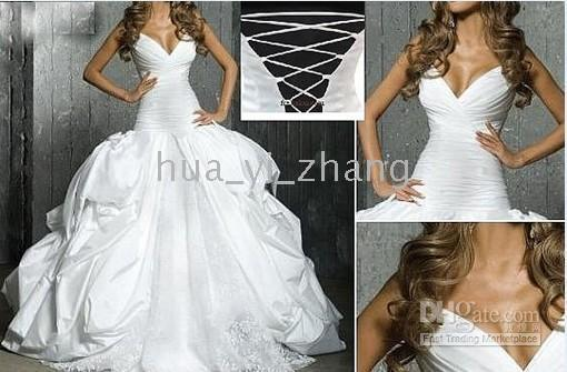 Ruffle accents corsets - Ball Gown V Neck Pleated Corset Top with Lace Accented Skirt Court Train Taffeta Wedding Dresses