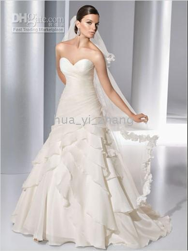 2010 wedding dresses - 2010 A Line Sweetheart Court Train Organza Pleated Wedding Dress Dresses