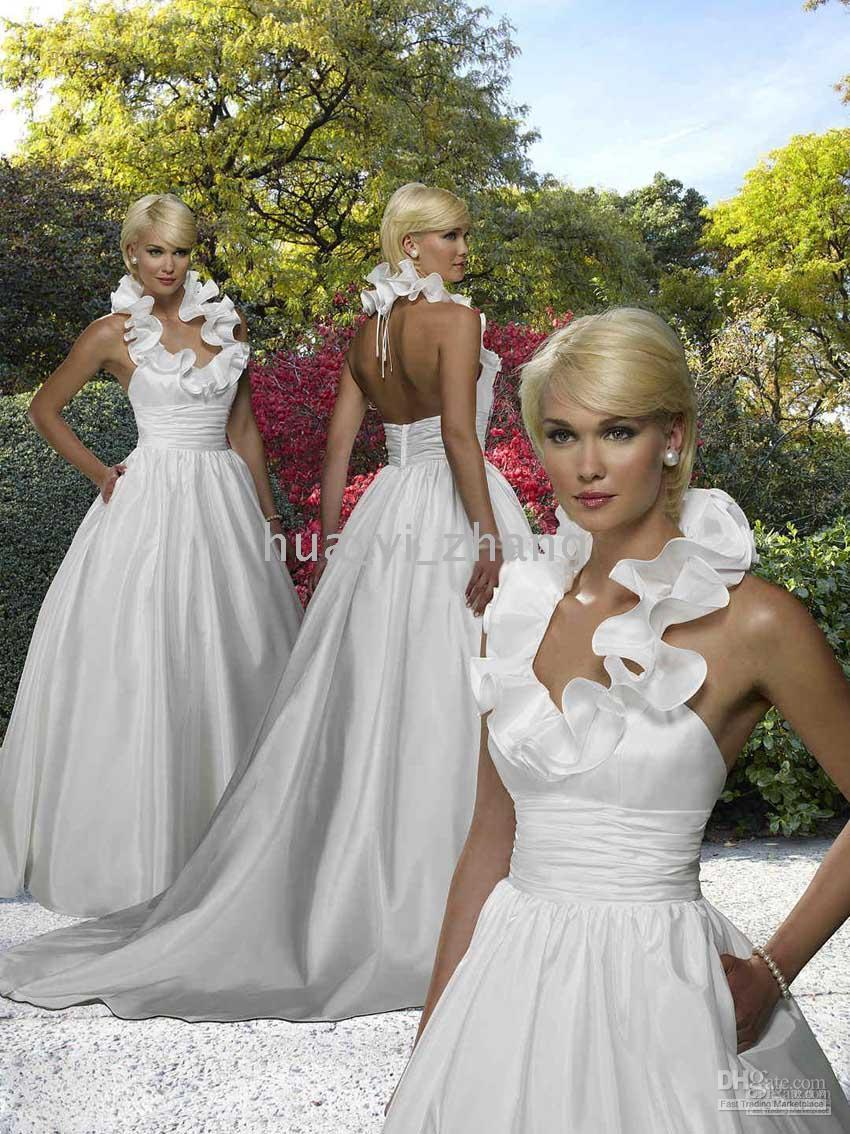 Discount halter a line taffeta gown ruffle chapel train for Taffeta wedding dress with pockets