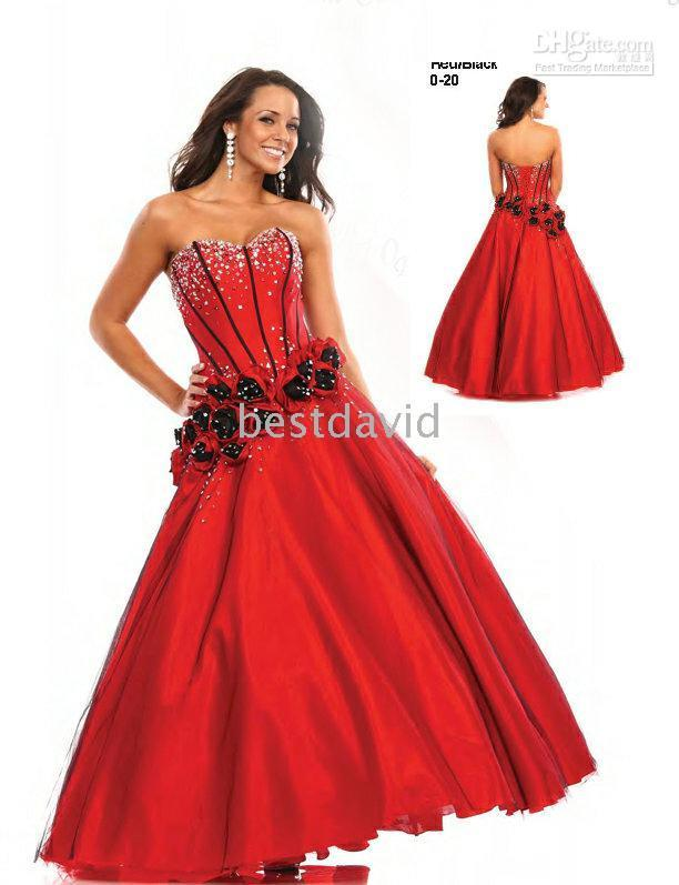 Wholesale 2010 sex a line strapless ruffles sleeveless Wow Red Black Corset Rosettes Prom Dress Ball Gown