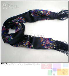 Long Men's Fashion Scarf 100% Silk Scarves Bilayer Tassel Floral Scarf Chinese Style Designs 10 pcs lot mix color Free