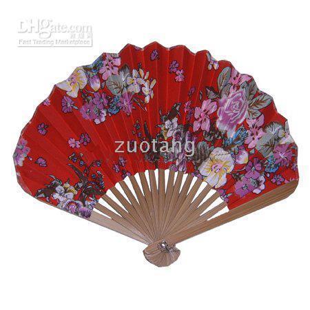 al por mayor ventiladores de baile japonés-Portable Fancy plegable de seda de mano de tela Artesanía Fan regalos Artesanía de estilo japonés Dance Fans 10 PC / lote