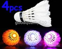 Wholesale 4pcs LED Badminton Feather Shuttlecock Flash Light New
