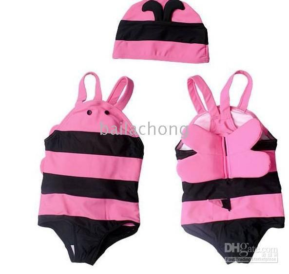 Cheap NEW Kids Girls Boys Bee Swimwear Suits Swimming Suit +Hats Swimming trunks 2pieces 2colors