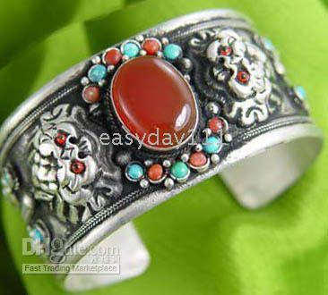 Wholesale Rare tibet inlay red jade bracelet