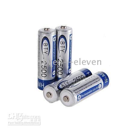 1.2V Rechargeable Ni-MH AA Rechargeable BTY Ni-MH Batteries 2A Rechargeable 2500 mAh 1.2V Battery 100pcs