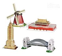 Wholesale HOT Cubic Fun Mini Architecture Series DIY Paper Toy Mixed order D Puzzle