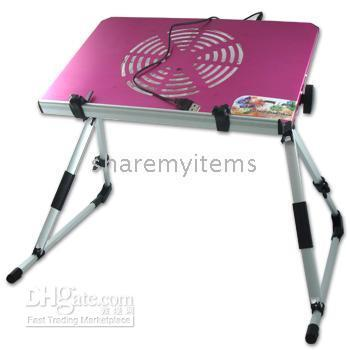 Cheap NEW PINK Portable Folding Laptop Bed Desk Stand Bed Table With Cooling Fan 102089