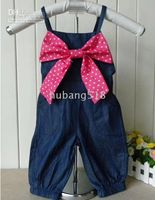 Wholesale Girls Tank Tops pants red bow tie yellow bow tie