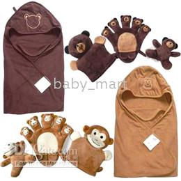 Wholesale 4 piece set Baby Blanket rattle Hand Puppet Baby bath robe receiving Blankets baby toys BT004
