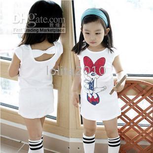 Wholesale Clearance kids dress baby Girls T shirts dresses Long style short sleeve Miqimini T shirt girls dress skirt vest harness dress