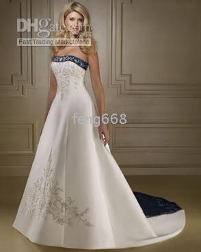 apparel photos - 2014 New arrival wedding Apparel strapless wedding dress gown Sexy Bride dresses with stain Custom Made size white and black blue color
