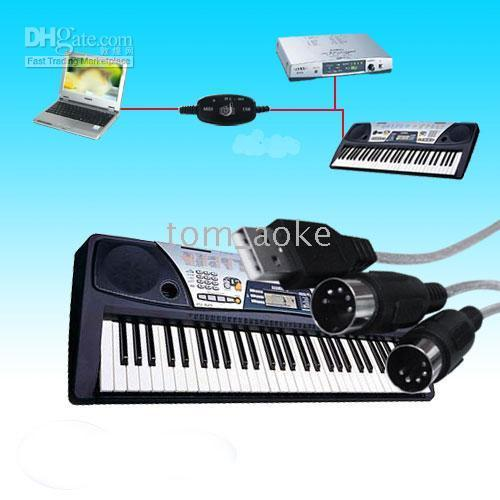 Wholesale USB MIDI Interface Cable In Out Connect For PC Keyboard
