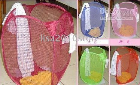 Wholesale Free Ship pieces Foldable Laundry Clothes Basket Storage Pop Up Laundry Hamper In Retail Package