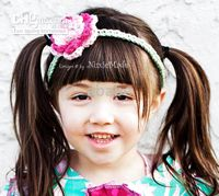 Crochet baby girl headband with a flower of 3- petal 2 color ...