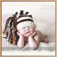 Handknit baby caps crochet 0- 3Y children' s hats stipe &...